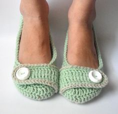 Crochet Womens Slippers, Ballet Flats, House Shoes - Minty Fresh - Made to Order. $30.00, via Etsy.