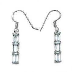 @Overstock.com - Malaika Sterling Silver Baguette-cut Aquamarine 3-stone Dangle Earrings - Glam up your jewelry with a pair of aquamarine and sterling silver earrings. Each earring has three baguette-cut aquamarines for maximum impact, and the sterling silver has a rhodium finish that will prevent the earrings from tarnishing.  http://www.overstock.com/Jewelry-Watches/Malaika-Sterling-Silver-Baguette-cut-Aquamarine-3-stone-Dangle-Earrings/4782538/product.html?CID=214117 $36.89