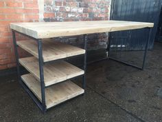 Reclaimed Industrial Chic Wood & Metal Desk/ Dining Table with Storage Shelving Bar cafe Resturant Tables Steel and Wood Metal Hand Made