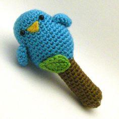 Crochet Toy Pattern  Baby Birdy Rattle Toy von Mamachee auf Etsy, $4.00