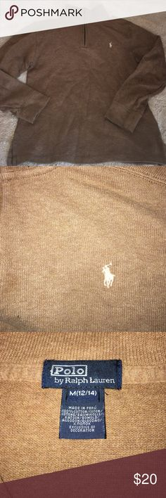 Polo By Ralph Lauren Boys Tan Pullover M 12-14) Awesome Pullover by Polo in excellent used condition.  Has the cream colored polo horse.  Nonsmoking home, bundle for a deeper discount.  Open to offers. Polo by Ralph Lauren Shirts & Tops Sweatshirts & Hoodies