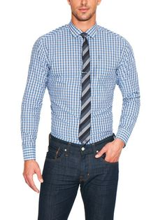 Stripe on blue check shirt and tie combo