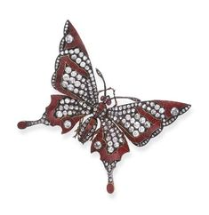 Butterfly brooch, red guilloché enamel and rose-cut diamond butterfly, with cabochon ruby eyes, extending old European, rose-cut diamond and red guilloché enamel wings, mounted in silver and gold, circa 1885