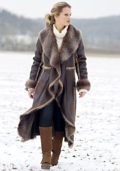 Brown Faux Fur-Trimmed Cascade Full-Length Coat - Donna Salyers' Fabulous Furs #fauxfur #FabulousFurs #DonnaSalyers #crueltyfree #fallfashion #winterfashion #ifakeit #fakefur #furcoat #furjacket #faux #brown #donnaspicks
