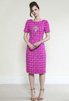 Fuchsia Tweed Dress - Angie