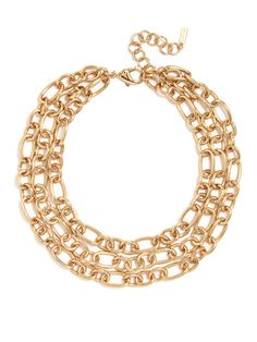 The oversized links on this three-layer statement necklace are the key to downtown style with the right amount of polish. Pair it with an LBD or a vintage tee.