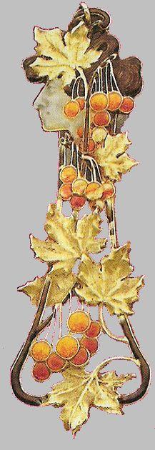 René Lalique. 1898-1900 signed 'Autumn' Pendant. Gold / enamel