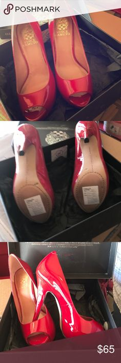 Vince  Vcamuto shoes red Vince Camuto size 6 1/2 medium 4 1/2 inch heel red never been worn Vince Camuto Shoes Heels