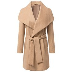 Elegant Turn Down Collar Waistband Long Sleeve Long Sections Worsted Coat For Women