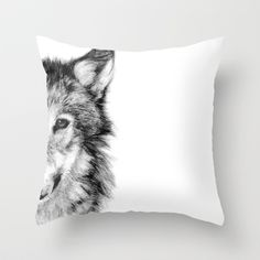 white wolf pillow