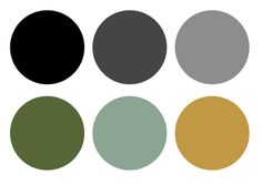 Color palette: black, grays, green, sage, and gold.