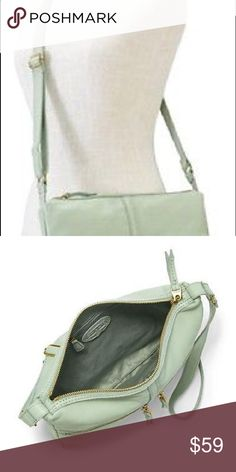 "Fossil Erin Leather Pastel Green Cross Body Bag Beautiful Pastel Green Leather   Top Closure: Zip External   details: Smooth Leather  2 Front zip pockets   Strap: Adjustable 21"" crossbody strap  Interior details:  2 media pockets, 3 card slots, pencil slot and zip pocket inside    Inner Material: 100% Cotton Twill  Gold tone hardware  Size: 12.25(L) x 9.5(H) x 1.75(D)""  FOSSIL DUSTBAG INCLUDED Fossil Bags Crossbody Bags"