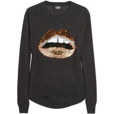Markus Lupfer Lips sequined merino wool sweater ($205) ❤ liked on Polyvore featuring tops, sweaters, camisolas, lips, charcoal, multicolor sweater, sequin lips sweater, embellished tops, loose fitting tops and sequined tops