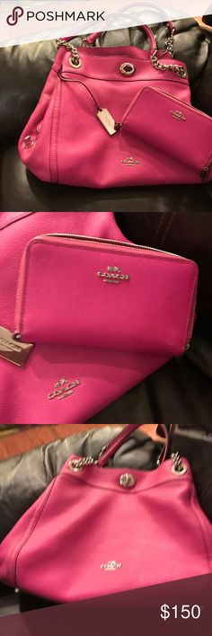 Authentic Coach purse and wallet Real pink leather coordinating set. I bought this set this summer at Park and Fifth in Manhattan. I am only selling because I had a baby and use my diaper bag as my purse. Coach Bags Shoulder Bags