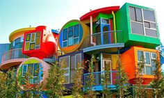 """Reversible Destiny Lofts - Tokyo - Japan -  2005 - Shusaku Arakawa and his creative partner, poet Madeline Gins  - Small apartments complex built in 2005 in the Tokyo suburb of Mitaka, by New York-based Japanese artist Shusaku Arakawa and his creative partner, poet Madeline Gins, that is anything but comfortable and calming. """"People, particularly old people, shouldn't relax and sit back to help them decline"""", he insists."""