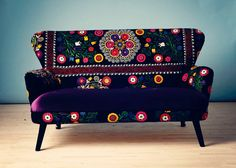 Patchwork sofa with Suzani fabrics - boho decor Decor, Funky Furniture, Suzani Fabric, Patchwork Furniture, Fusion Sofa, Painted Furniture, Furniture Accessories, Cool Furniture, Patchwork Sofa