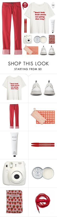 """""""Red and white"""" by deepwinter ❤ liked on Polyvore featuring Dr. Martens, prAna, ban.do, Rodin, Maybelline, Fujifilm, Jack Wills, Passport, Urbanears and adidas Originals"""