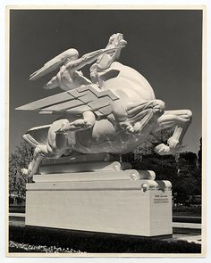 "Art Deco....Joseph E. Renier's Plaster Statue ""Speed"" at the 1939 Worlds Fair."