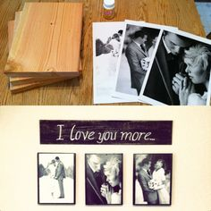 Scrap wood painted to color of choice, Mod Podge wood (let dry somewhat) place card stock pictures on wood and press firmly (Office Max aprox 33 cents per picture) let dry to wood. Mod podge a few layers over top of picture, dry and.. HANG! :o)