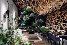 Entwining craft artistry, simple Asian design and eminent elegance in one eclectic, breathtaking interior The Kido Sushi Bar by DA Architects presents us with a Bar Interior Design, Interior Design Business, Restaurant Interior Design, Interior Ideas, Sushi Bar, Restaurant Lounge, Commercial Interiors, Restaurants, Behance
