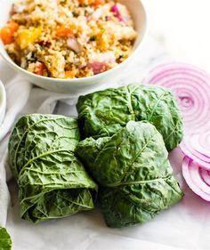 California Quinoa Salad Collard Wraps with Edamame Pesto
