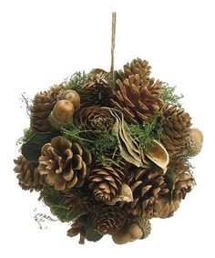 Dress up the tree with this ball of outdoor beauty to give the holidays a natural feel. Made from real pinecones and acorns, it's a unique way to decorate for the holiday season.