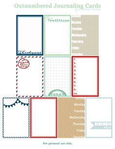 free printable outnumbered journaling cards for december daily (links to former sets as well)