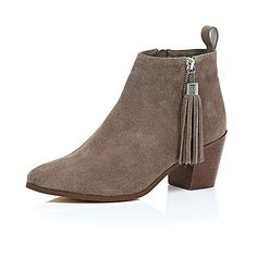 Beige suede tassel heeled ankle boots