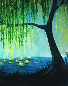 Weeping Willow tree with lilies on the water, beginner painting idea.