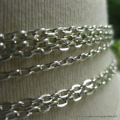 13 CENTS PER INCH FOR 3.5mm by 2mm  ~~ Silver Plated Cable Chain  1 foot (31cm) SB352E