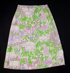 Vintage THE VESTED GENTRESS Hand-Screened SKIRT Purples Jungle Animals MINT ~ 8 #TheVestedGentress #ALine