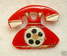 Vintage Bakelite Realistic Button Red Dial Telephone (07/31/2008)