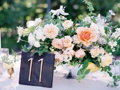 Peach Yellow Pink Rose Centerpiece | photography by http://claryphoto.com/