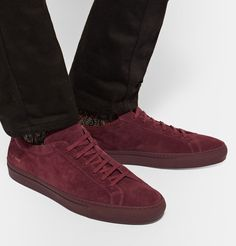 Shop men's sneakers at MR PORTER, the men's style destination. Discover our selection of over 400 designers to find your perfect look. Burgundy Sneakers, Suede Sneakers, High Top Sneakers, Common Projects, Dark Jeans, Achilles, Boot Socks, Signature Style, Trainers