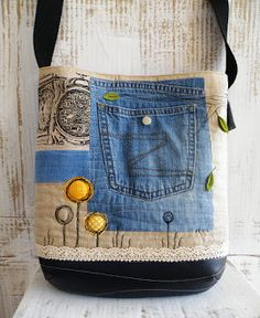 mixed fabric tote with denim pocket