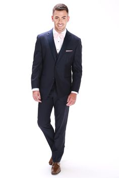 Navy Ike Behar Sebastian Navy 2 button notch Navy modern fit 2 button notch with satin lapel. Matching pant, vest and tie available. Navy Tuxedos, Navy Vest, Vest And Tie, Tuxedo Wedding, Formal Wear, Suit Jacket, Trousers, Menswear, Coat