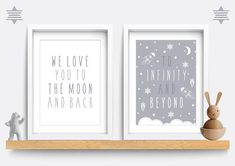 Set of 2 Space Nursery Print We love you to the moon and