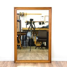 This simple mirror is featured in a solid wood with a glossy maple finish. This accent mirror has a large rectangular frame and carved trim. Perfect for a bathroom vanity! #americantraditional #decor #mirror #sandiegovintage #vintagefurniture