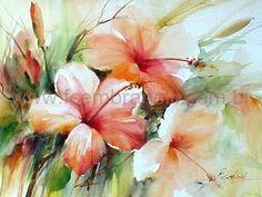 Fábio Cembranelli - A Painter's Diary: Hibiscus 2 - Watercolor / Hibiscos 2 - Aquarela