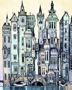 Art et illustration, victorian illustration, building illustration, city skyline art, city art Building Illustration, Art Et Illustration, Illustrations, Botanical Illustration, City Skyline Art, City Art, London Skyline, Fantasy Kunst, Fantasy Art