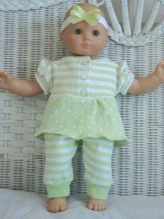 Bitty Baby Girl cute 3  pc  dress and  Pants outfit with headband,     doll clothes