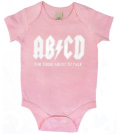 AB CD Funny Baby One Piece Bodysuit Romper in Pink 9a645c576