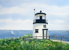 Owls Head Light, Beth Whitney watercolor
