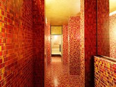 Have you ever imagined a SPA completely cladded with Liberty Red? - Avevate mai immaginato una SPA completamente rivestita in Liberty Red? Tiles, Wall Lights, Spa, Lighting, Mosaics, Liberty, Design Ideas, Inspiration, Bathroom