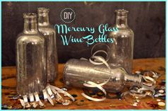 DIY mercury glass mini wine bottles www.ciburbanity.com