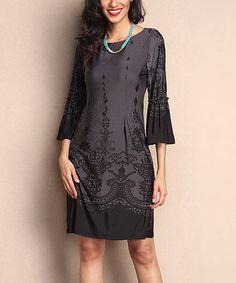Charcoal Scroll-Print Bell-Sleeve Shift Dress