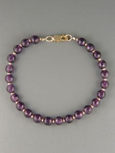 Amethyst Bracelet - 6mm round faceted stones with 2mm round beads
