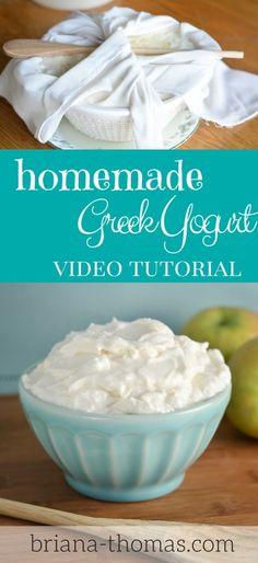 Homemade Greek Yogurt Video Tutorial (briana-thomas.com) - it's so easy!