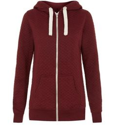 Deep Red Quilted Zip Up Hoodie