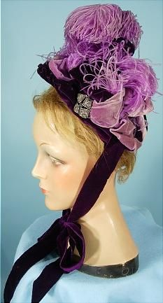 1893 ___ Women's Bonnet ___ Purple Velvet, Purple Ostrich Feathers, Lighter Purple Velvet Ribbons, Steel Cut Ornaments and Purple Velvet Ties ___ Mme. Howard, Boston ___ photo 3